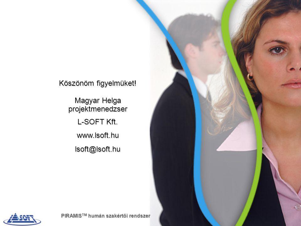 Köszönöm figyelmüket! Magyar Helga projektmenedzser L-SOFT Kft.