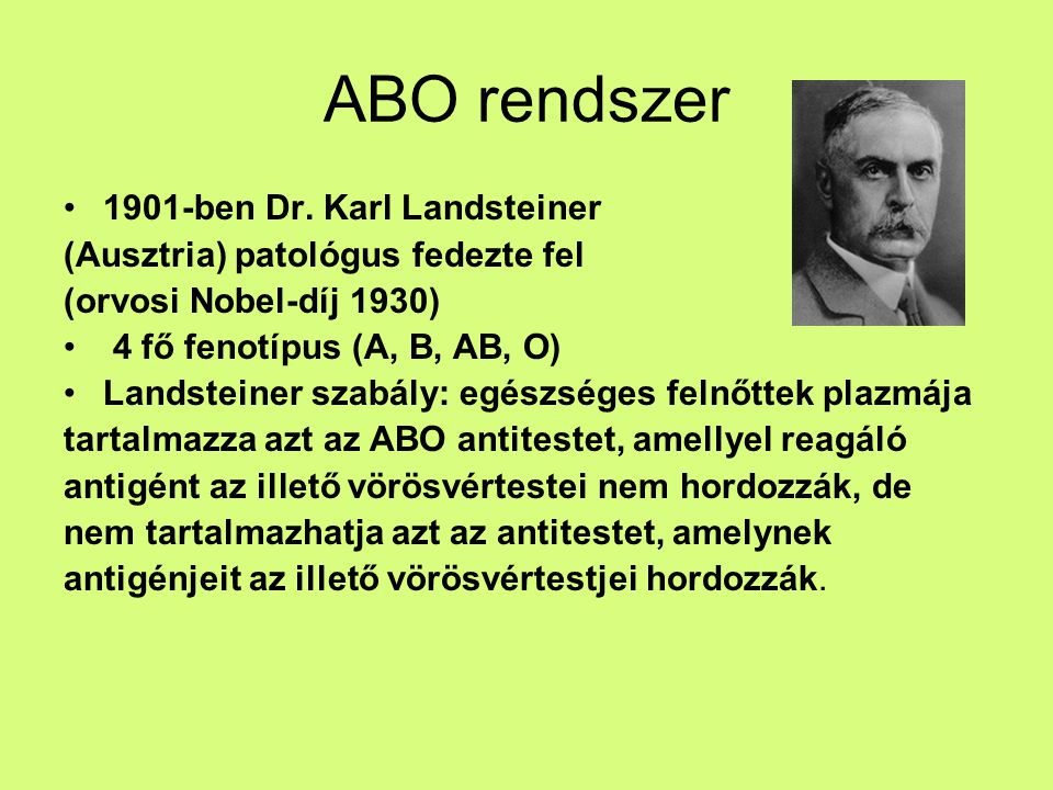 ABO rendszer 1901-ben Dr. Karl Landsteiner
