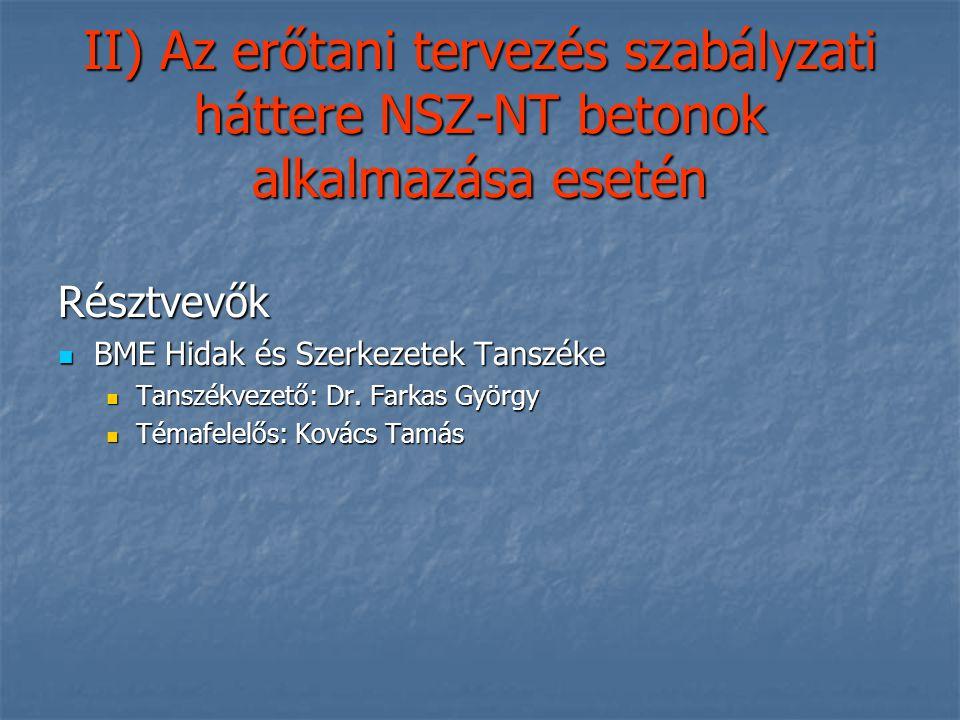 II) Az erőtani tervezés szabályzati háttere NSZ-NT betonok alkalmazása esetén