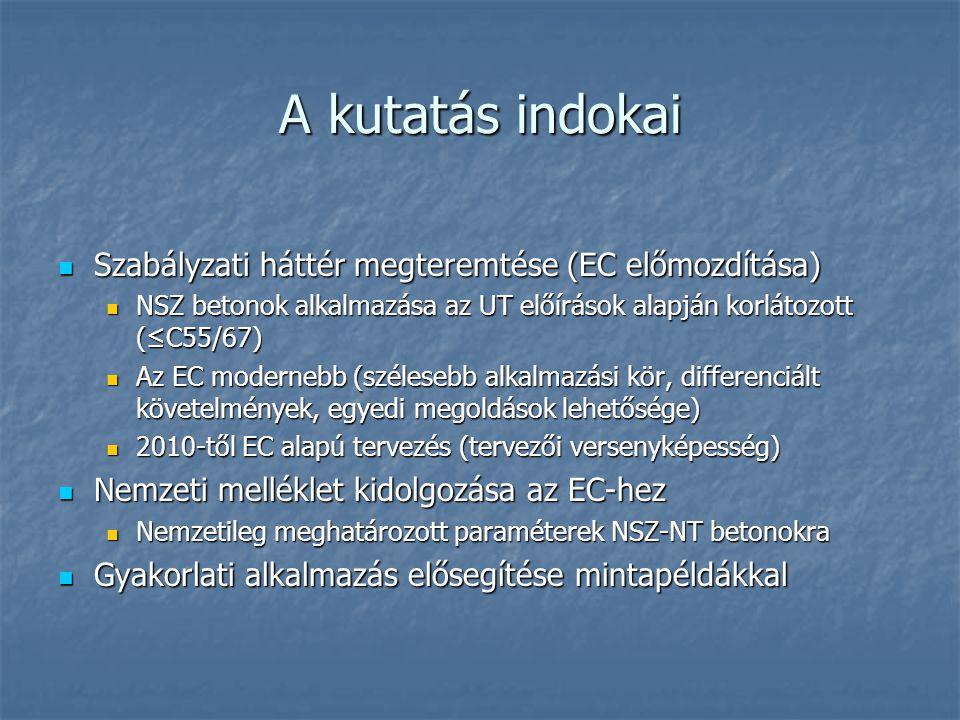 A kutatás indokai Szabályzati háttér megteremtése (EC előmozdítása)
