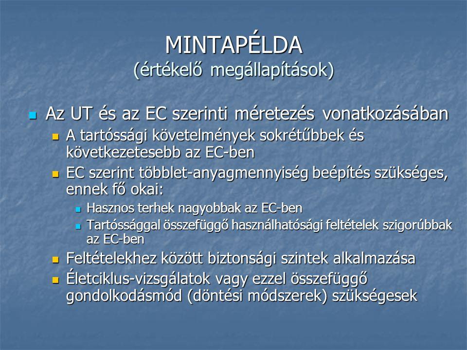 MINTAPÉLDA (értékelő megállapítások)