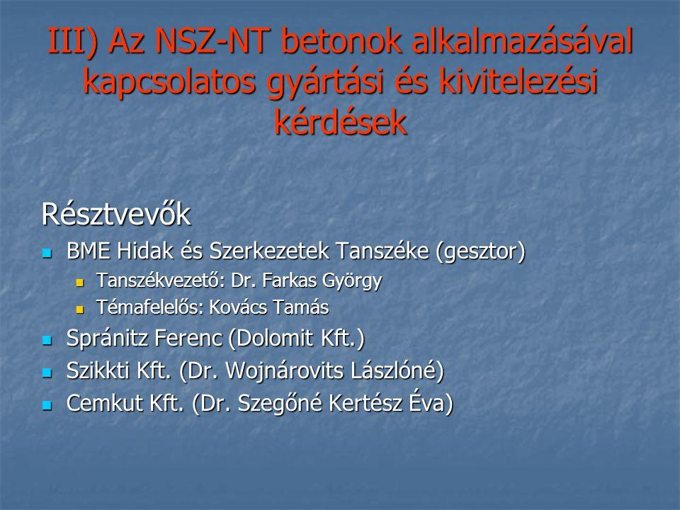III) Az NSZ-NT betonok alkalmazásával kapcsolatos gyártási és kivitelezési kérdések
