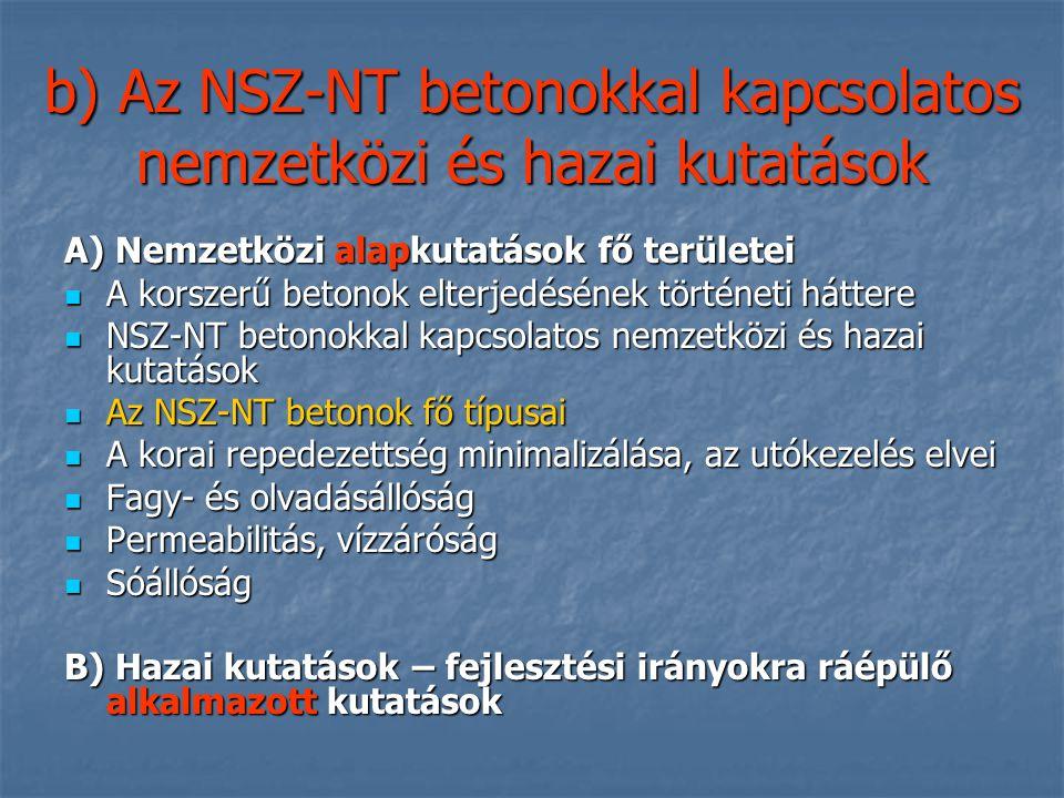 b) Az NSZ-NT betonokkal kapcsolatos nemzetközi és hazai kutatások