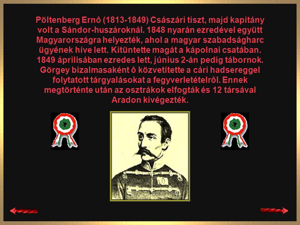 Pöltenberg Ernô (1813-1849) Császári tiszt, majd kapitány volt a Sándor-huszároknál.