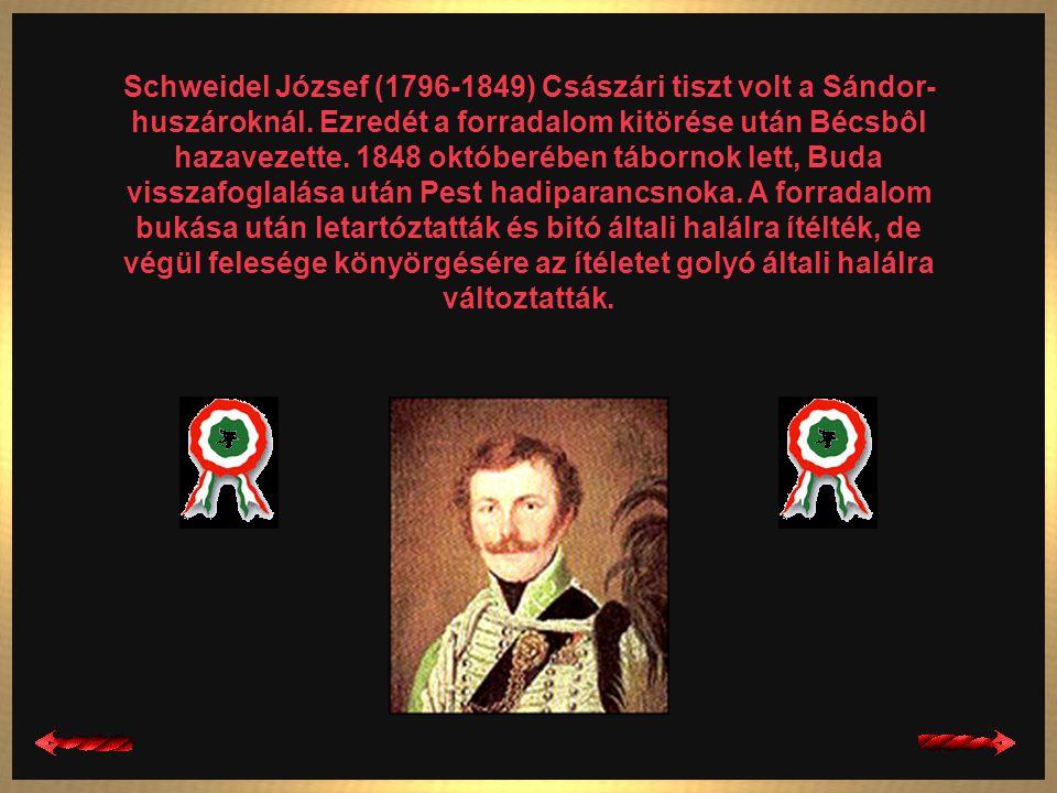 Schweidel József (1796-1849) Császári tiszt volt a Sándor-huszároknál