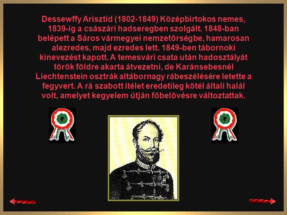 Dessewffy Arisztid (1802-1849) Középbirtokos nemes, 1839-ig a császári hadseregben szolgált.