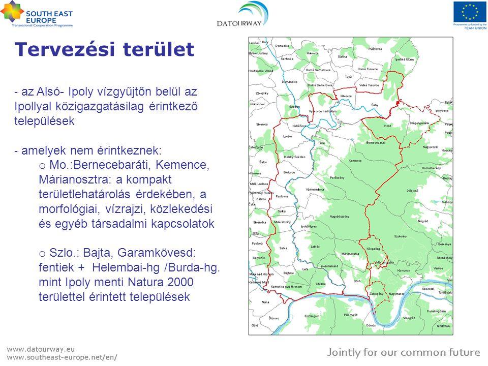 Tervezési terület az Alsó- Ipoly vízgyűjtőn belül az Ipollyal közigazgatásilag érintkező települések.