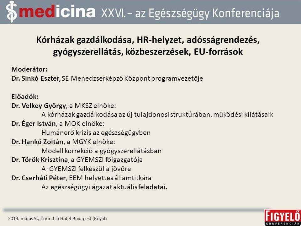 Kórházak gazdálkodása, HR-helyzet, adósságrendezés, gyógyszerellátás, közbeszerzések, EU-források