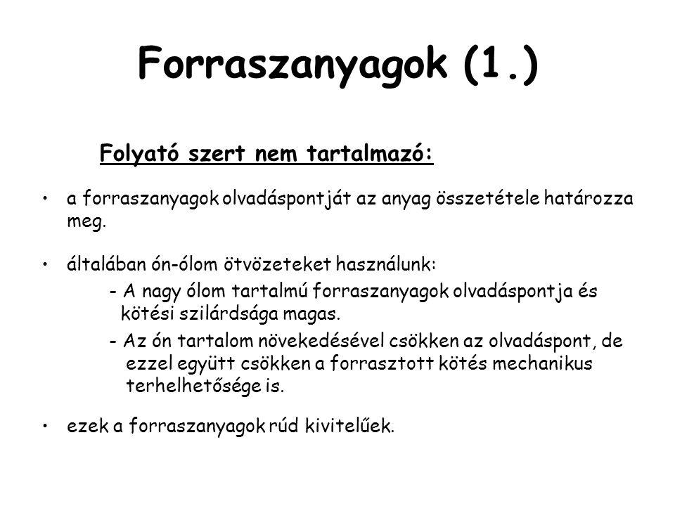 Forraszanyagok (1.) Folyató szert nem tartalmazó:
