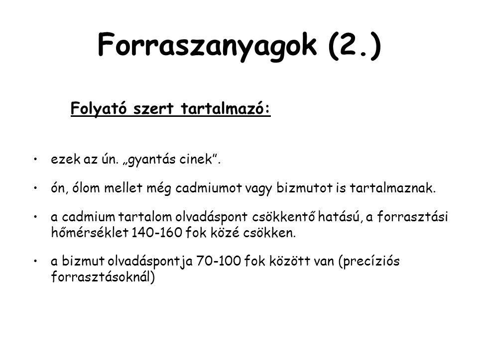 Forraszanyagok (2.) Folyató szert tartalmazó: