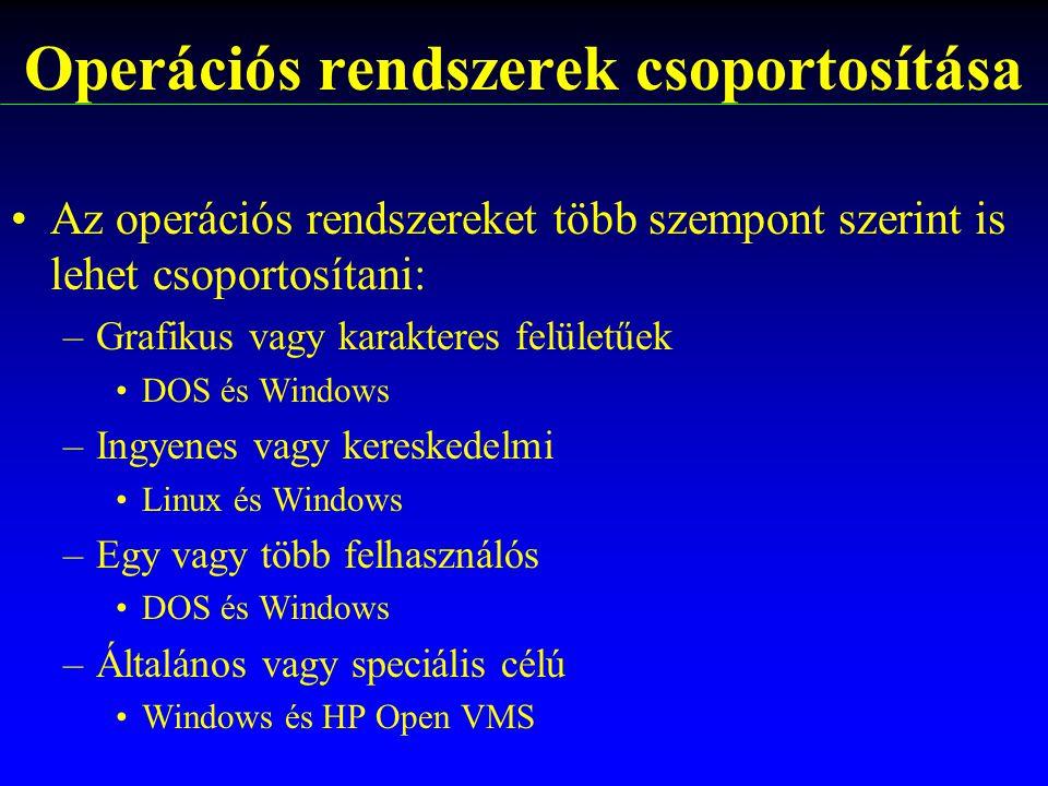 Operációs rendszerek csoportosítása
