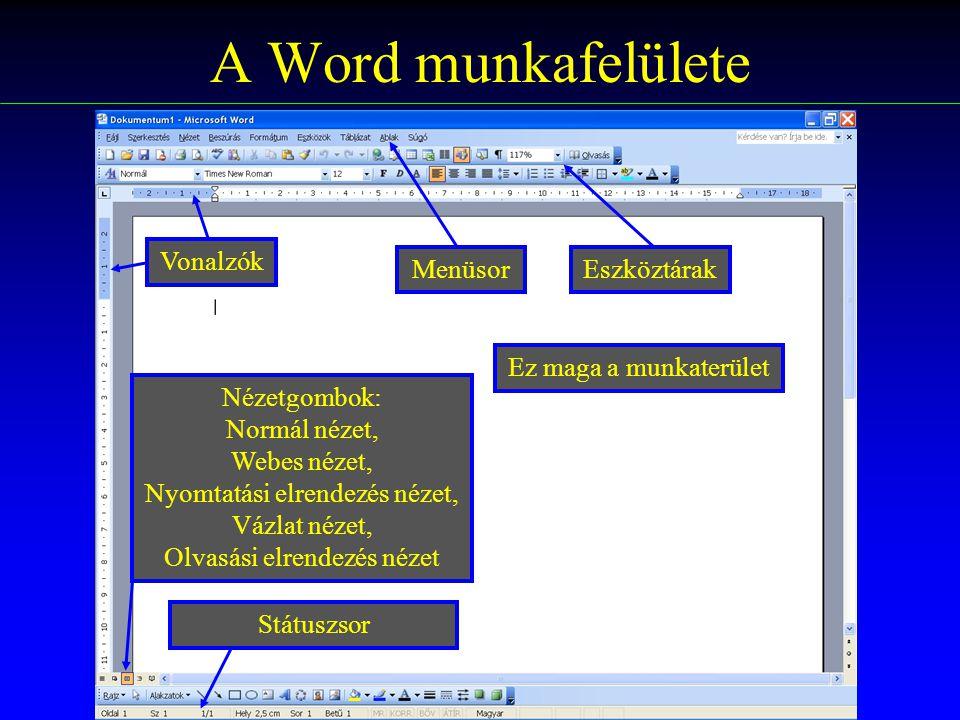 A Word munkafelülete Vonalzók Menüsor Eszköztárak