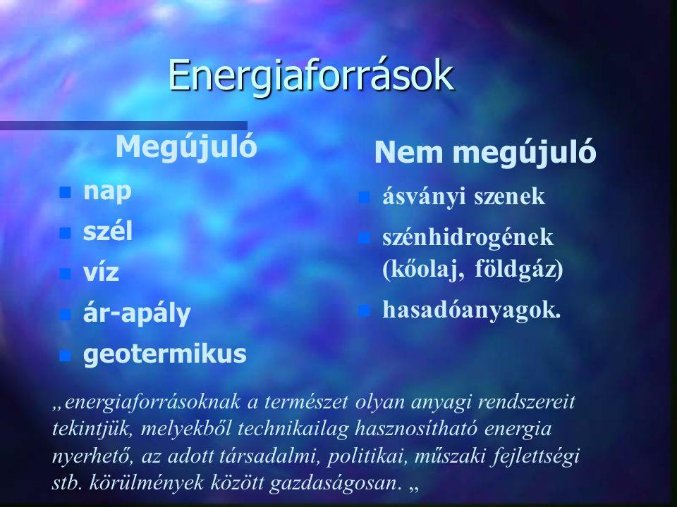Energiaforrások Megújuló Nem megújuló nap ásványi szenek szél