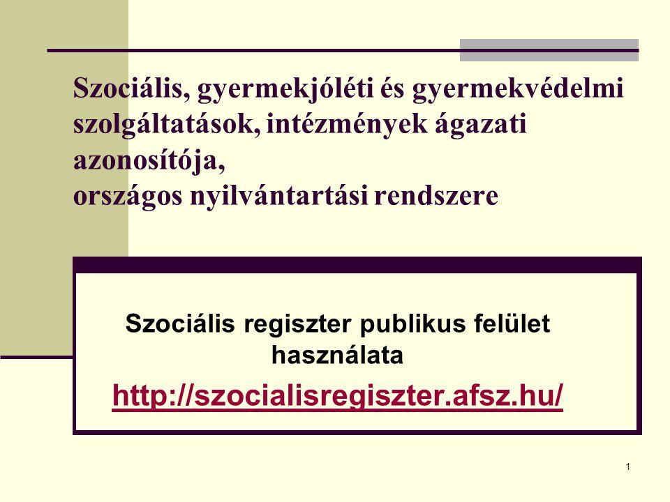 Szociális regiszter publikus felület használata