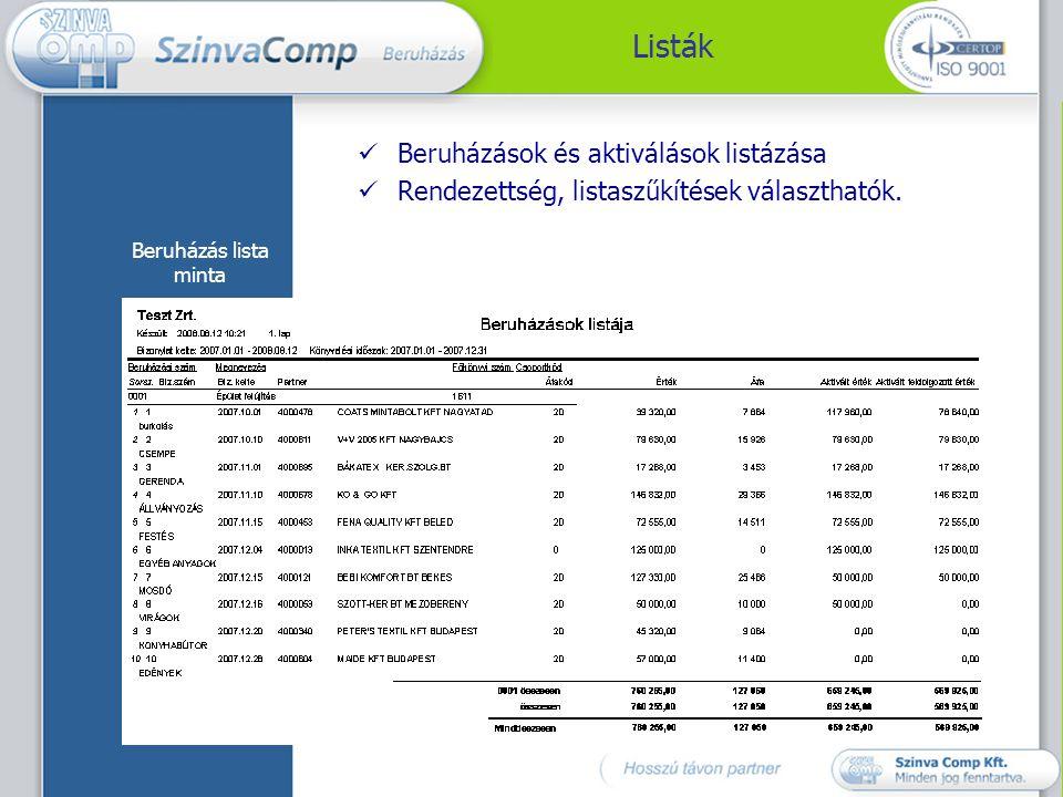 Listák Beruházások és aktiválások listázása
