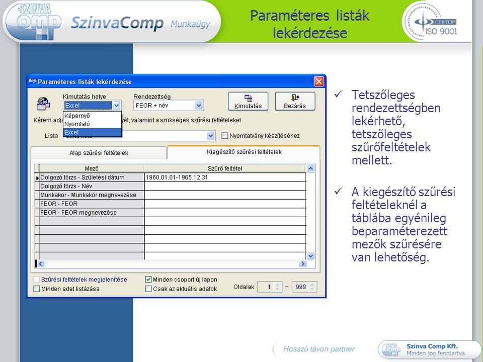 Paraméteres listák lekérdezése