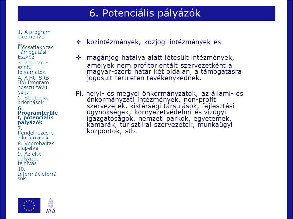 6. Potenciális pályázók közintézmények, közjogi intézmények és