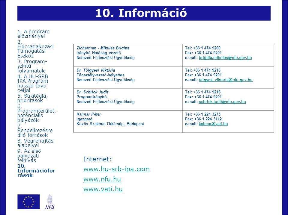 10. Információ Internet: www.hu-srb-ipa.com www.nfu.hu www.vati.hu