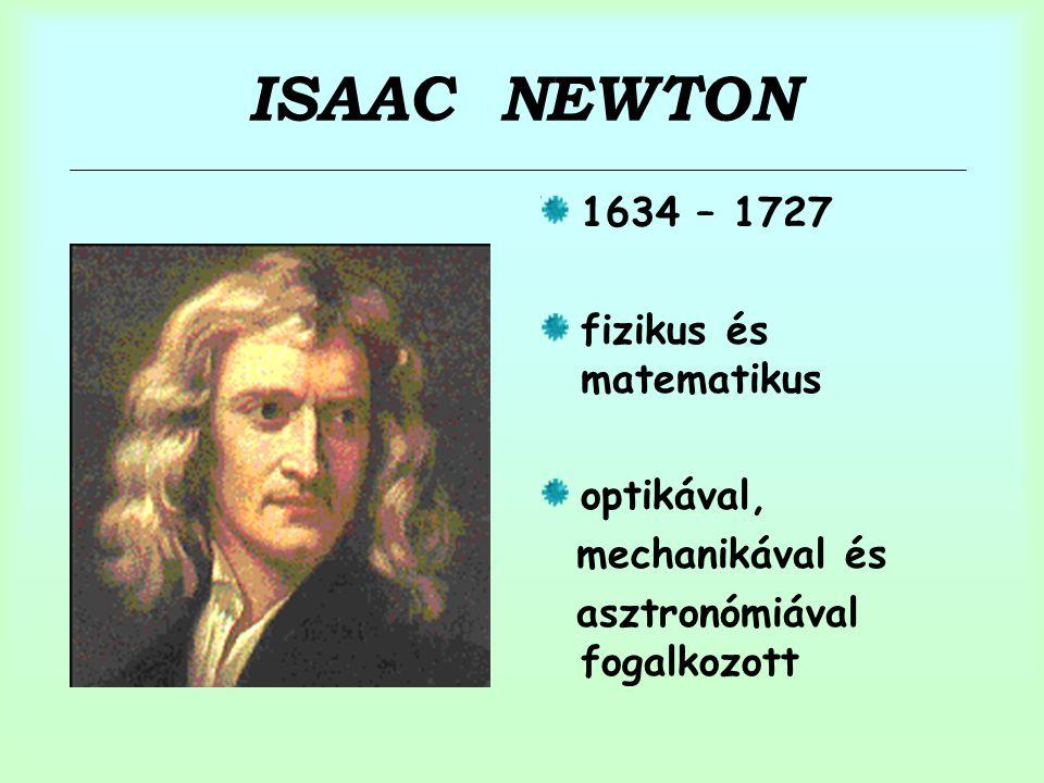 ISAAC NEWTON 1634 – 1727 fizikus és matematikus optikával,