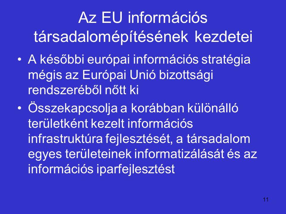 Az EU információs társadalomépítésének kezdetei