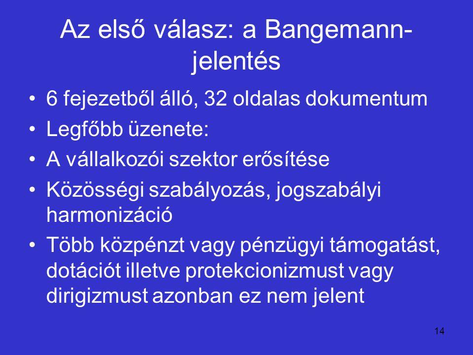 Az első válasz: a Bangemann-jelentés