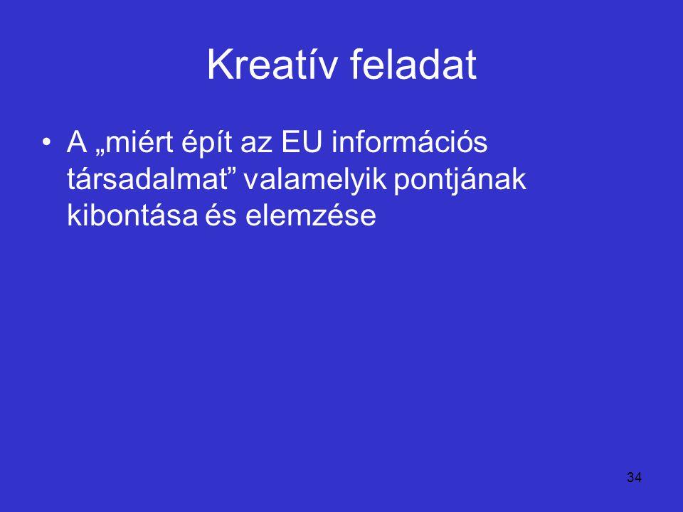 """Kreatív feladat A """"miért épít az EU információs társadalmat valamelyik pontjának kibontása és elemzése."""