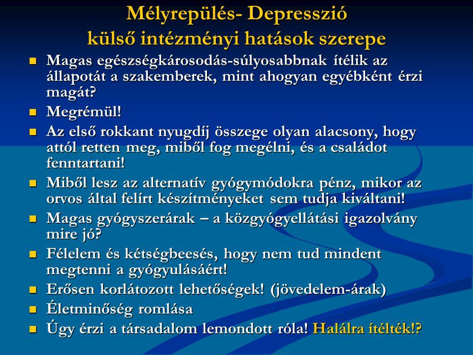 Mélyrepülés- Depresszió külső intézményi hatások szerepe