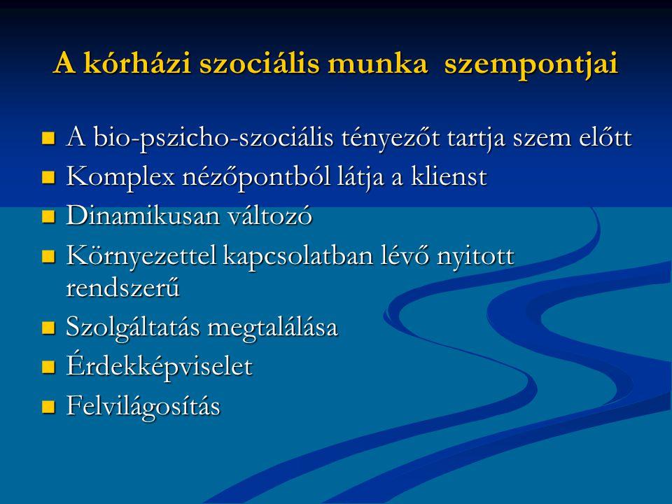 A kórházi szociális munka szempontjai