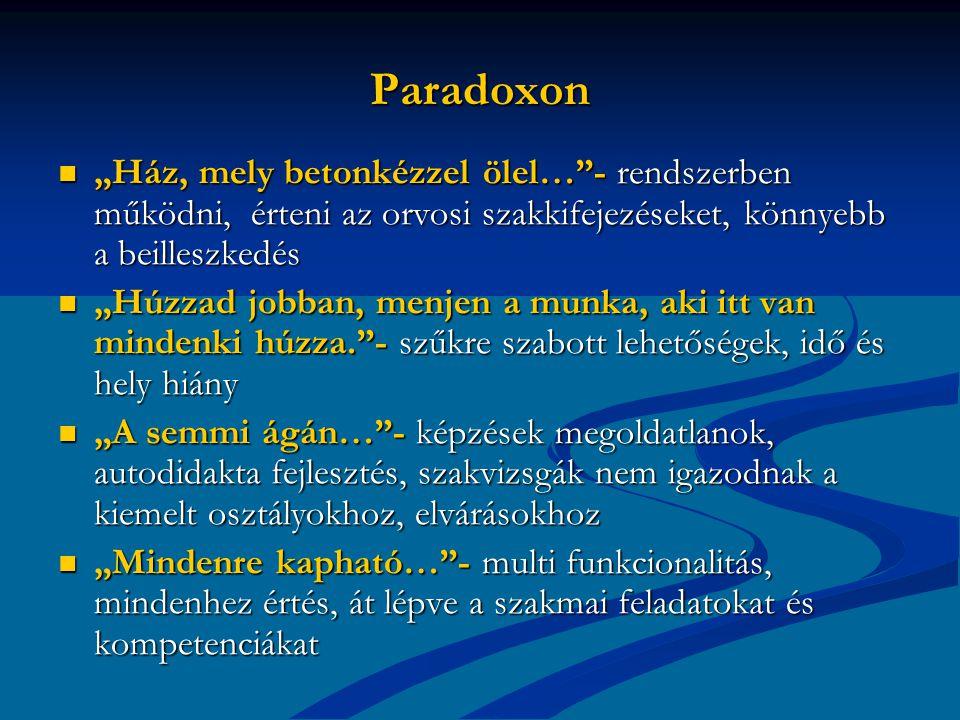 """Paradoxon """"Ház, mely betonkézzel ölel… - rendszerben működni, érteni az orvosi szakkifejezéseket, könnyebb a beilleszkedés."""