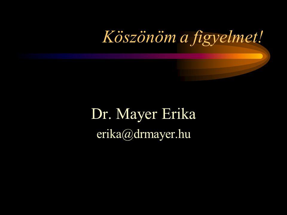 Köszönöm a figyelmet! Dr. Mayer Erika erika@drmayer.hu