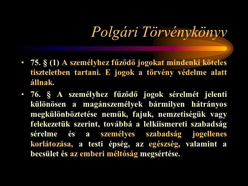 Polgári Törvénykönyv 75. § (1) A személyhez fűződő jogokat mindenki köteles tiszteletben tartani. E jogok a törvény védelme alatt állnak.