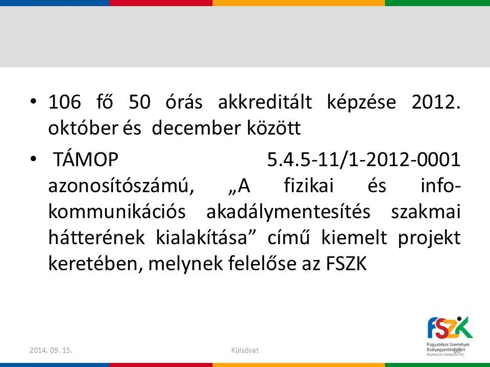 106 fő 50 órás akkreditált képzése 2012. október és december között