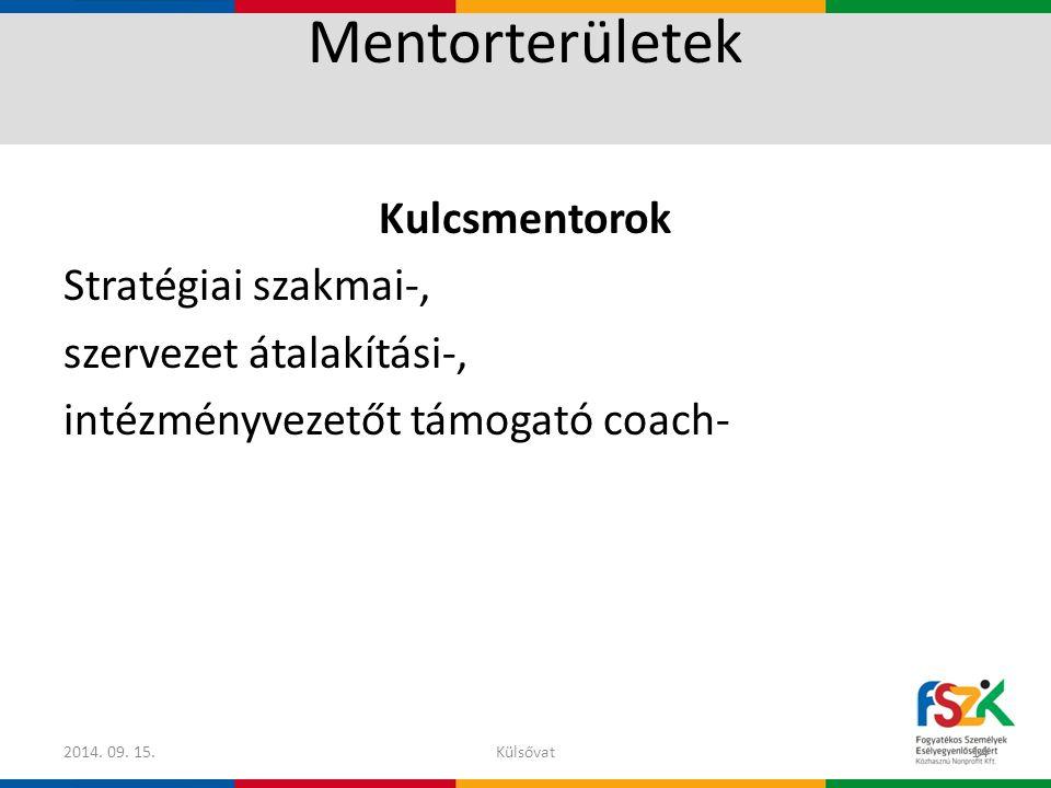 Mentorterületek Kulcsmentorok Stratégiai szakmai-, szervezet átalakítási-, intézményvezetőt támogató coach-