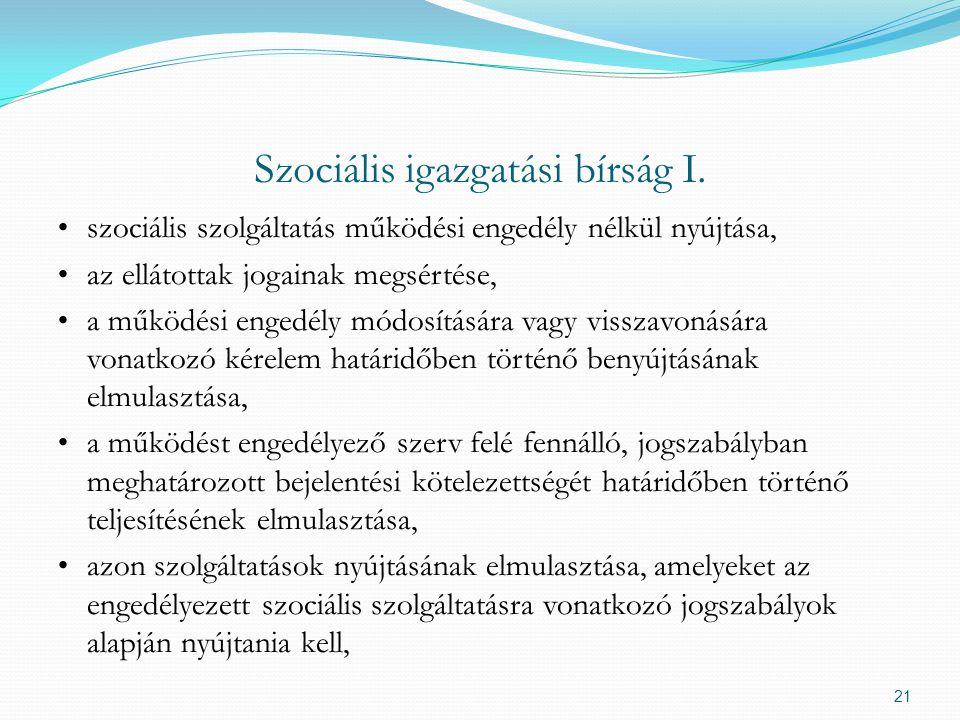 Szociális igazgatási bírság I.