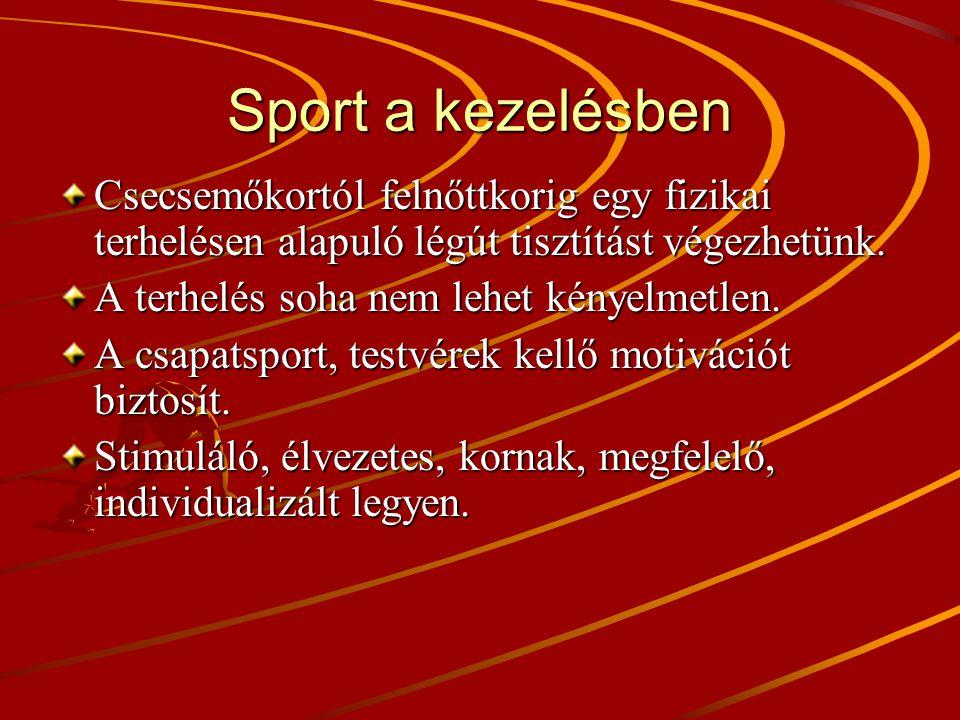 Sport a kezelésben Csecsemőkortól felnőttkorig egy fizikai terhelésen alapuló légút tisztítást végezhetünk.