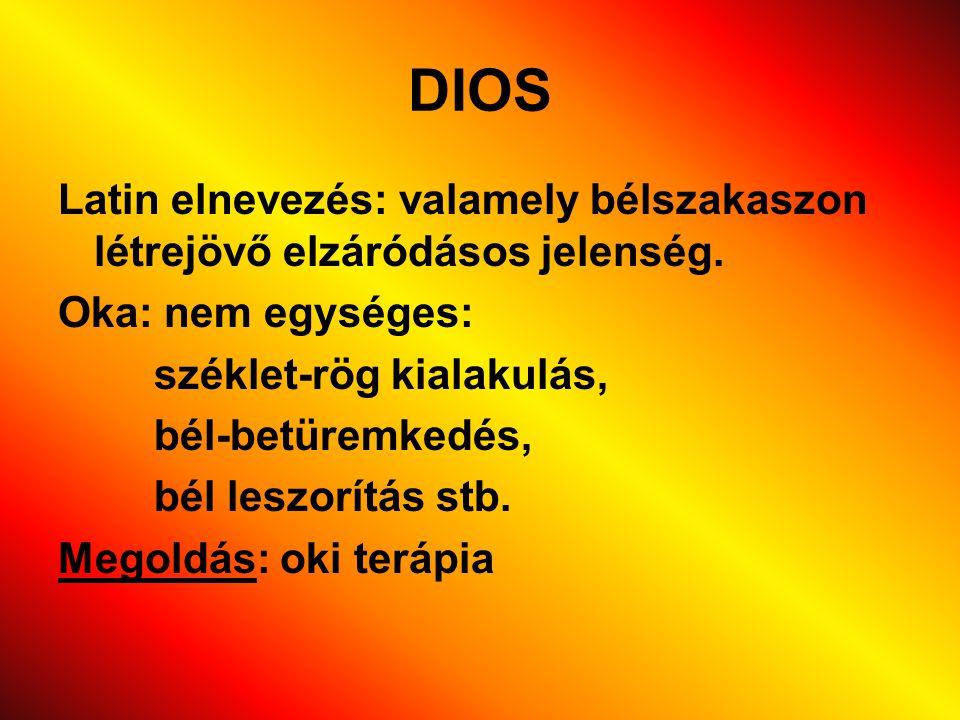 DIOS Latin elnevezés: valamely bélszakaszon létrejövő elzáródásos jelenség. Oka: nem egységes: széklet-rög kialakulás,