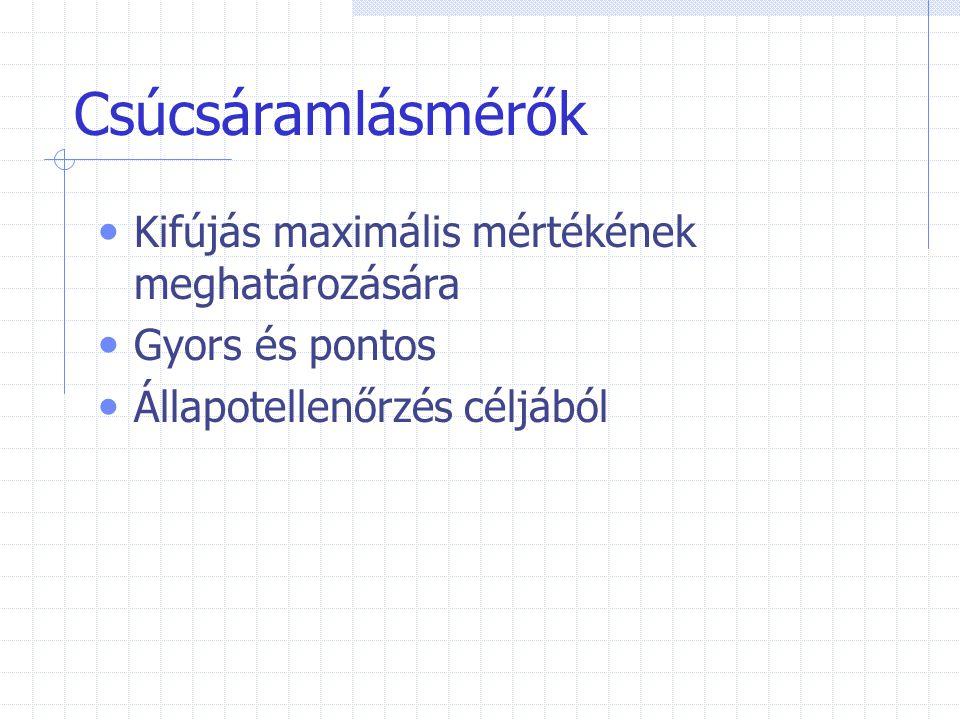 Csúcsáramlásmérők Kifújás maximális mértékének meghatározására