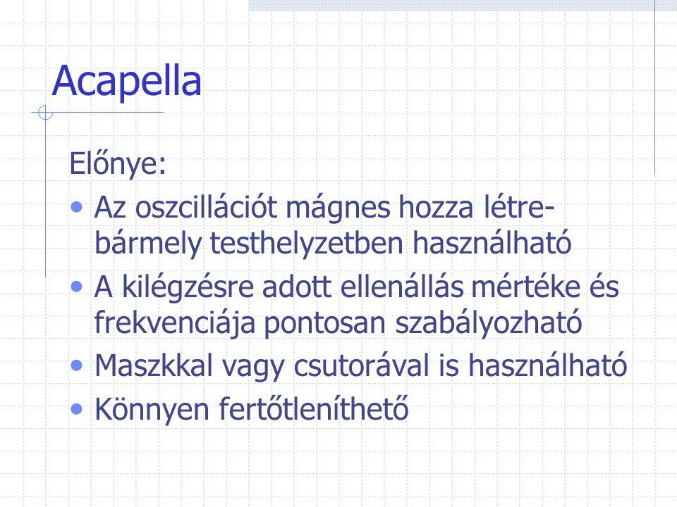 Acapella Előnye: Az oszcillációt mágnes hozza létre-bármely testhelyzetben használható.