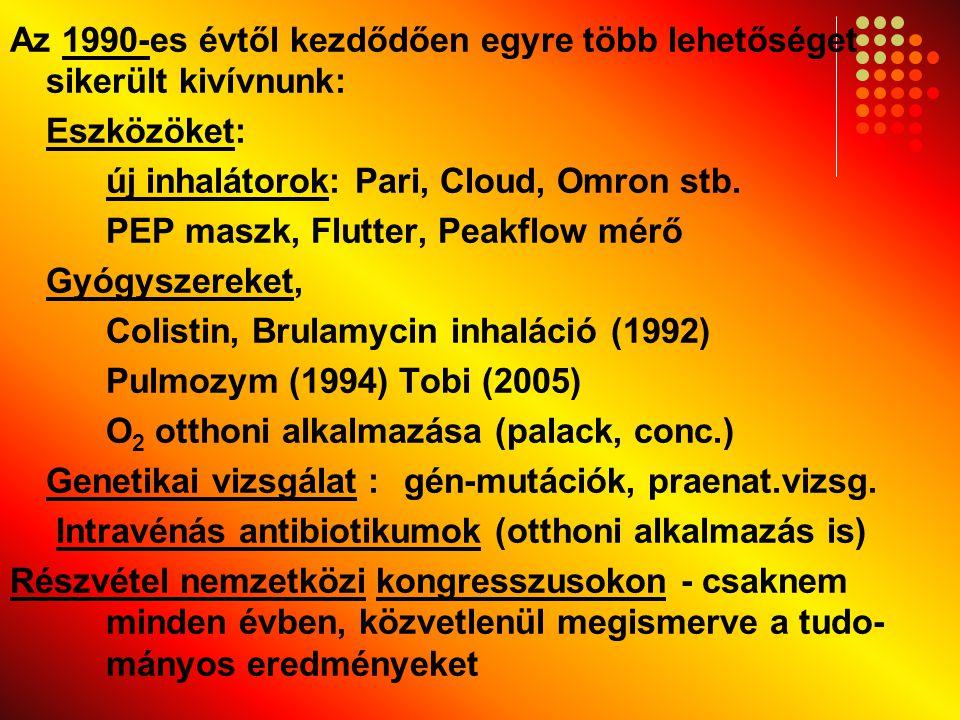 Az 1990-es évtől kezdődően egyre több lehetőséget sikerült kivívnunk: Eszközöket: új inhalátorok: Pari, Cloud, Omron stb.