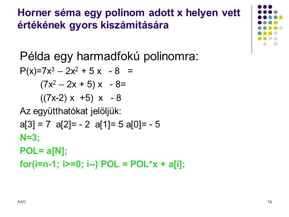 Példa egy harmadfokú polinomra: