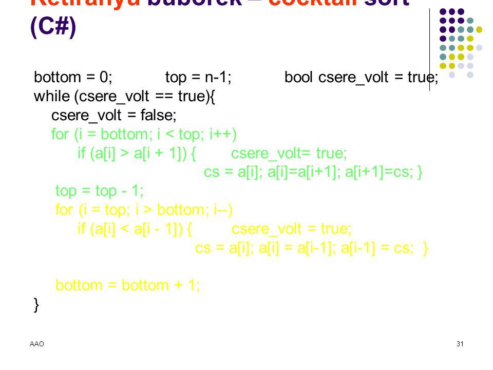 Kétirányú buborék – cocktail sort (C#)
