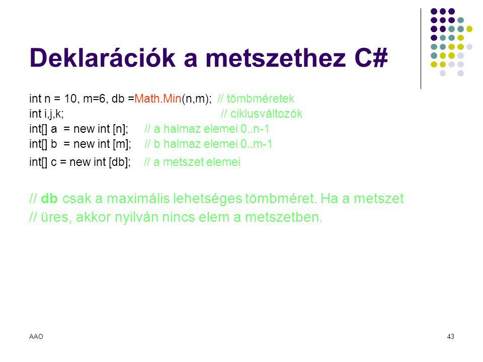 Deklarációk a metszethez C#