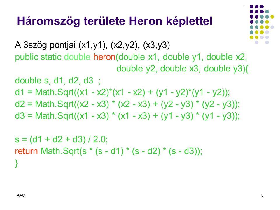 Háromszög területe Heron képlettel