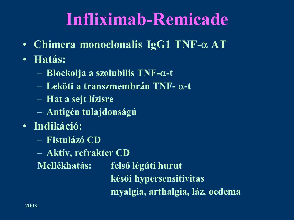 Infliximab-Remicade Chimera monoclonalis IgG1 TNF- AT Hatás: