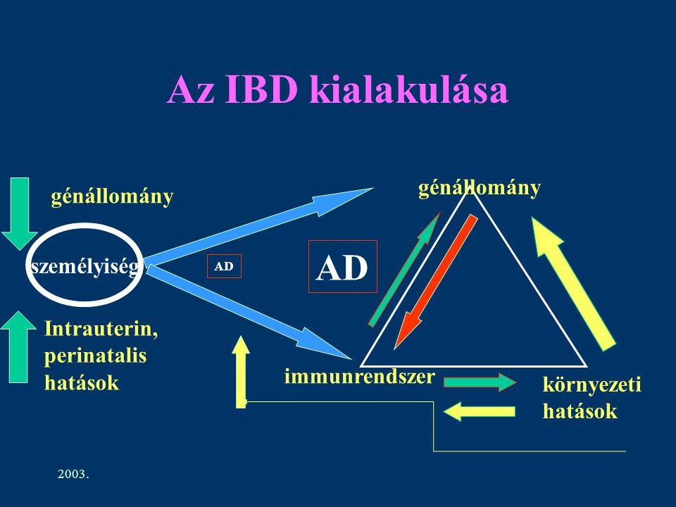 Az IBD kialakulása AD génállomány génállomány személyiség Intrauterin,