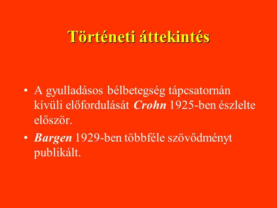 Történeti áttekintés A gyulladásos bélbetegség tápcsatornán kívüli előfordulását Crohn 1925-ben észlelte először.