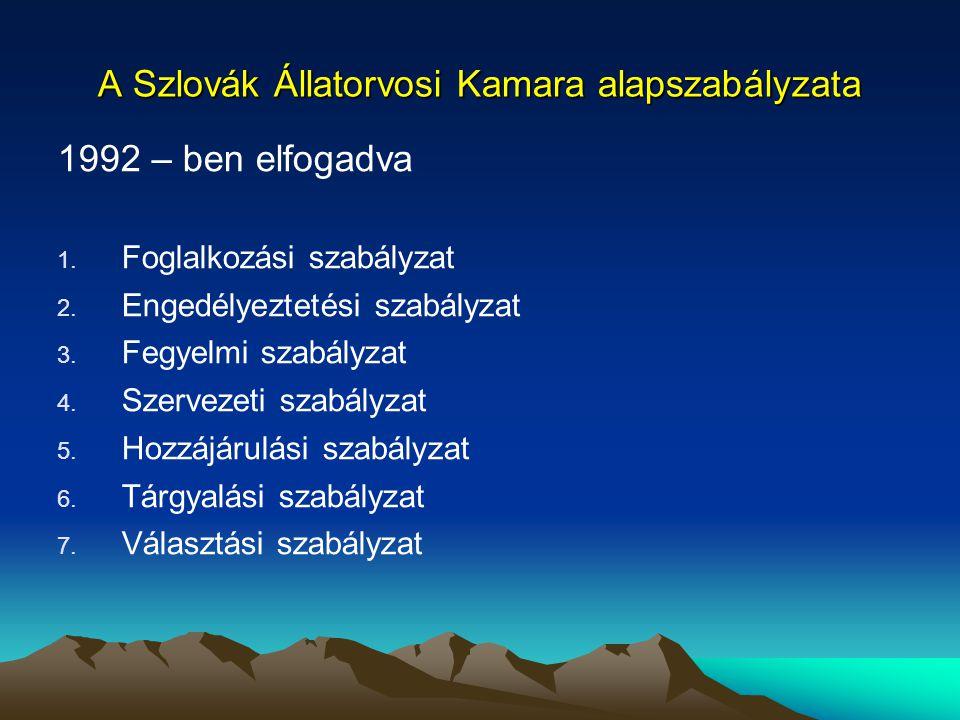 A Szlovák Állatorvosi Kamara alapszabályzata