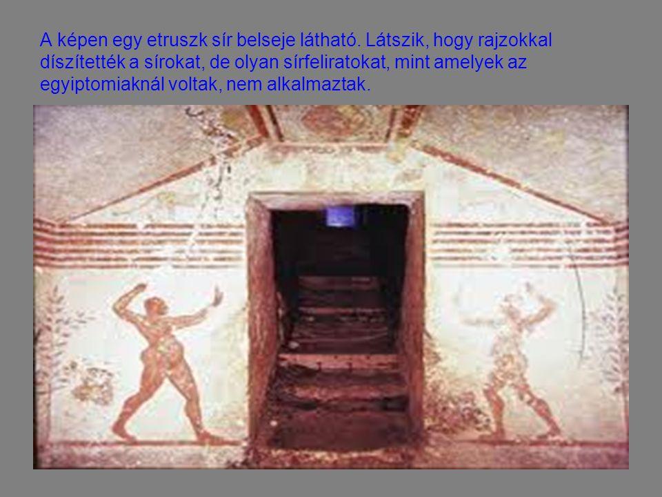 A képen egy etruszk sír belseje látható