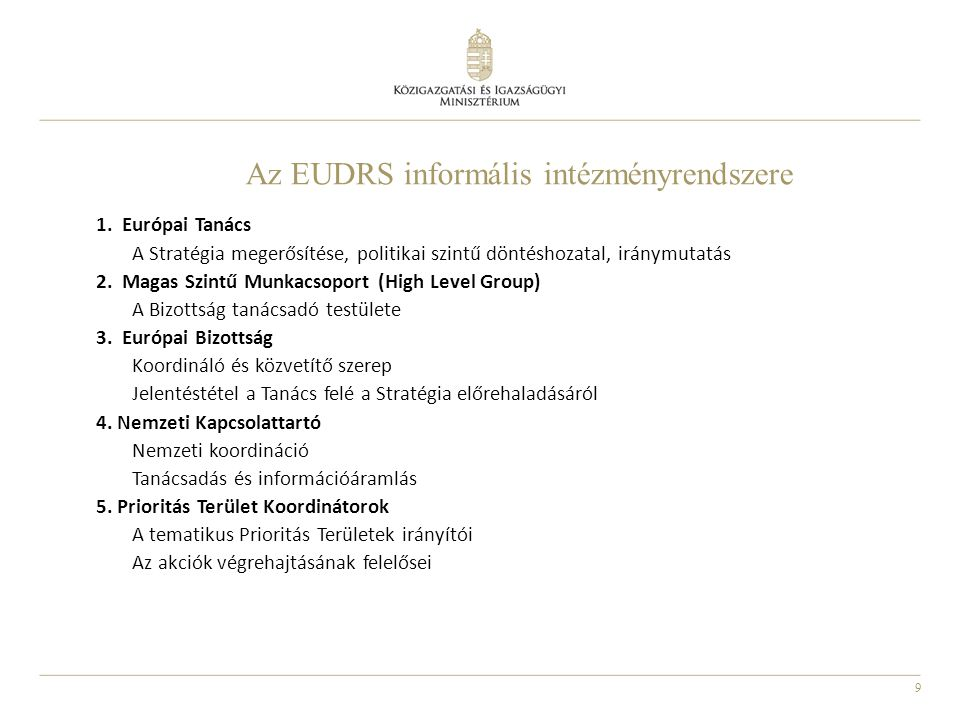 Az EUDRS informális intézményrendszere