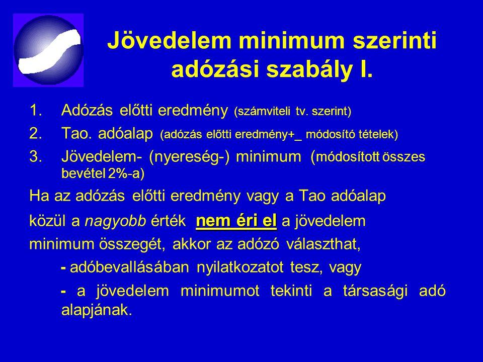 Jövedelem minimum szerinti adózási szabály I.